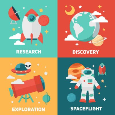 Plakát Space téma transparenty a karty