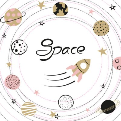 Plakát Space vector illustration with hand drawn planets and rocket for kids.