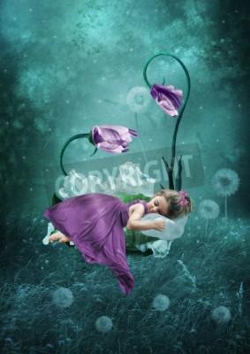 Plakát Spící holčička v kouzelném lese