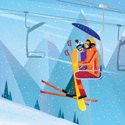 Plakát Sportovci vylézt na horu na leteckém výtahu