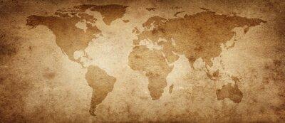 Plakát Stará mapa světa na pozadí starého pergamenu. Prastarý styl. Prvky tohoto obrázku Zařízeno NASA.