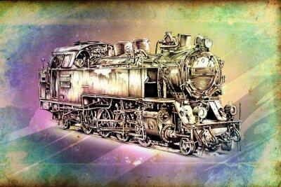 Plakát stará parní lokomotiva retro stroj vinobraní