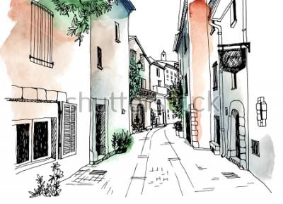 Plakát Staré město ulice v ručně tažené skica stylu. Vektorové ilustrace. Malé Evropské město. Francie. Městská krajina na akvarel barevné pozadí