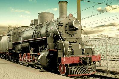 Plakát Staré parní lokomotiva na nádraží