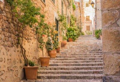 Plakát Staré vesnice ulice schody Středomoří