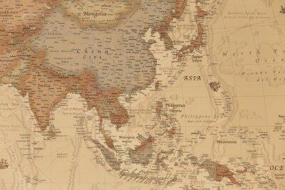 Plakát Starověká geografická mapa Asie se jmény zemí