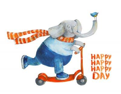 Plakát Šťastný den. Akvarel a kvaš Ilustrace