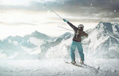 Plakát Šťastný lyžař