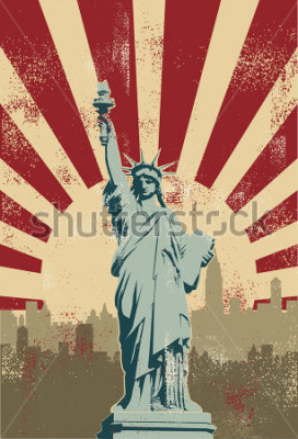 Plakát Statue of Liberty, New York City, vector
