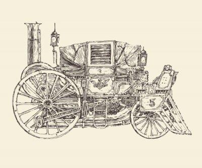 Plakát Steampunk přeprava, ryté styl, vektorové ilustrace