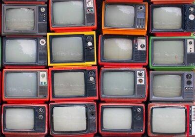 Plakát Stěna starých trubek televizorů ročníku