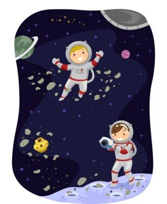 Plakát Stickman Děti Outer Space Photo