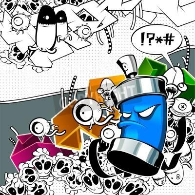 Plakát Strange graffiti image with can