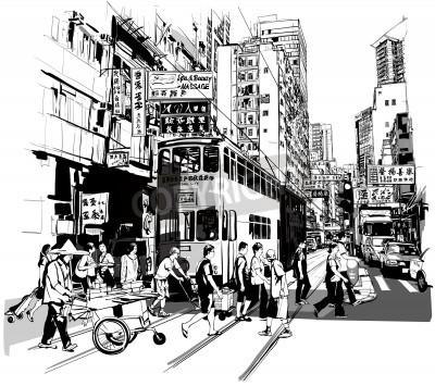 Plakát Street v Hong Kongu - vektorové ilustrace (všechny čínské znaky jsou smyšlené)
