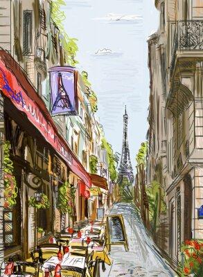 Plakát Street v Paříži - ilustrace
