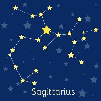 Plakát Střelec Oheň Zodiac souhvězdí s hvězdami ve vesmíru. vektorový obrázek