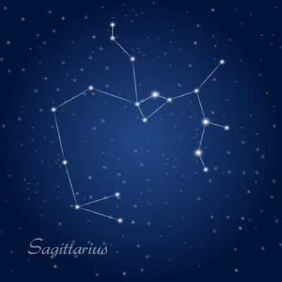 Plakát Střelec souhvězdí znamení zvěrokruhu v hvězdné noční obloze