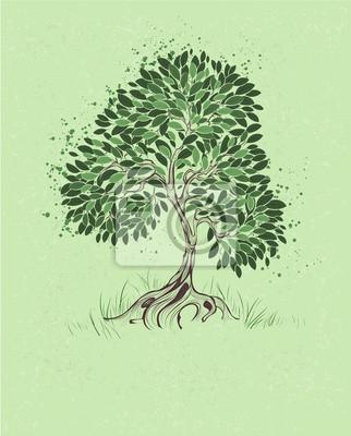Strom Na Zelenem Pozadi Plakaty Na Zed Plakaty Kresba Tuzkou