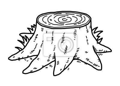 Stump Strom Karikatura Vektor A Ilustrace Cerne A Bile Rucne
