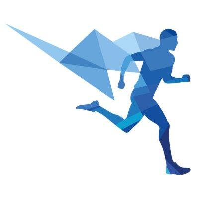 Plakát Stylizované běžec, geometrický vzor