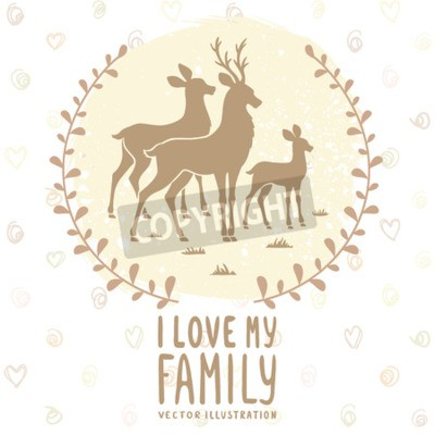 Plakát Stylový karta s siluetu s krásnými rodinnými jelena. vektorové ilustrace