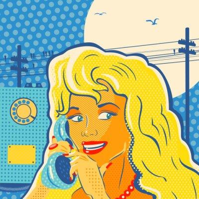 Plakát Stylu pop art dívka s telefonem