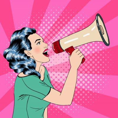 Plakát Stylu pop art žena s megafonem