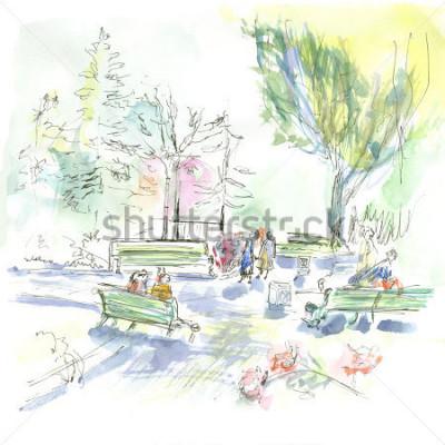 Plakát Summer park, sketch, watercolor