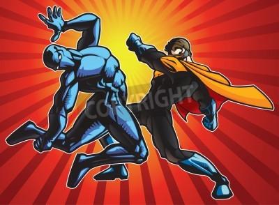 Plakát Super hrdina a ninja dělá bitva.