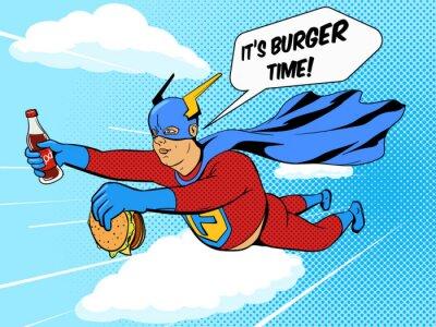 Plakát Superhrdina tlouštík a hamburger komiksu vektor