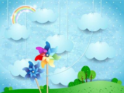 Plakát Surreal krajiny s větrníky a visí mraky