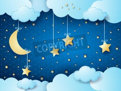 Plakát Surreal noc, fantazie cloud stvol. vektorové ilustrace