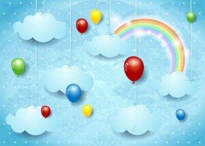 Plakát Surrealistické scéna s barevnými balónky