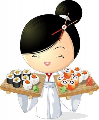 Plakát sushi dívka