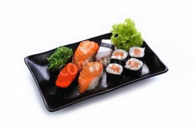 Plakát sushi na bílém pozadí