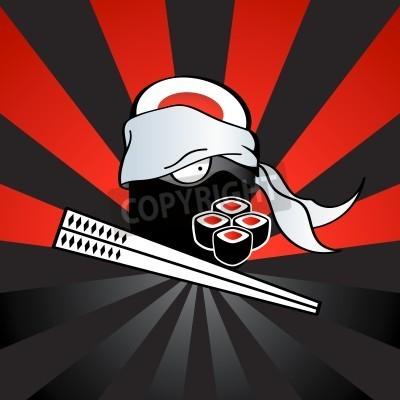 Plakát Sushi ninja s nebezpečnými katana-hůlkami a pikantní rolích