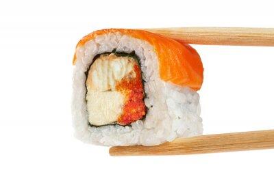 Plakát Sushi s lososem, úhoř, kaviár a sýr Philadelphia. Ch