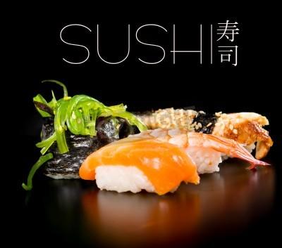 Plakát Sushi set over black background