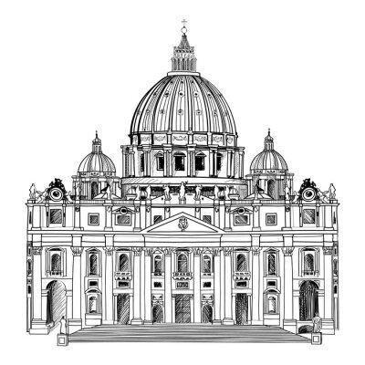 Plakát Svatého Petra katedrála, Řím, Itálie. Vatikánským architekturu.