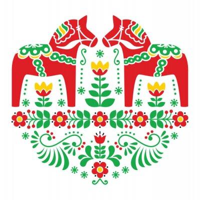 Plakát Švédská Dala koně nebo Daleclarian folk floral pattern