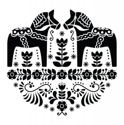 Plakát Švédská Dala nebo Daleclarian kůň lidové vzor v černé