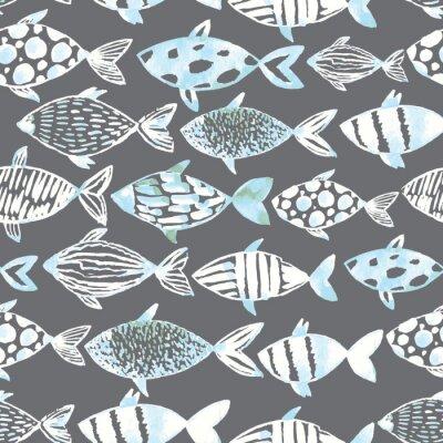 Plakát Světlo akvarel bílé ryby na šedém pozadí.
