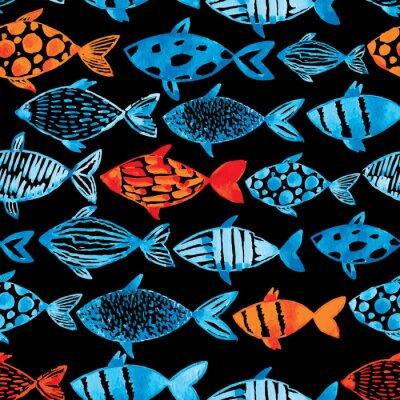 Plakát Světlo akvarel modré a zlaté ryby na černém pozadí.