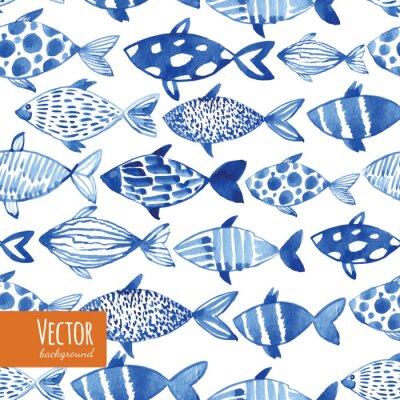Plakát Světlo akvarel modré ryby na černém pozadí.