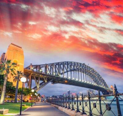 Plakát Sydney Harbour Bridge s krásný západ slunce, NSW - Austrálie