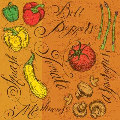 Plakát Syrové zeleniny s kaligrafií