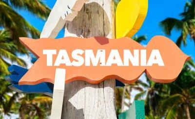 Plakát Tasmánie vítanou známkou s palmami