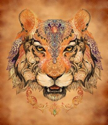 Plakát Tattoo, grafika hlava tygra