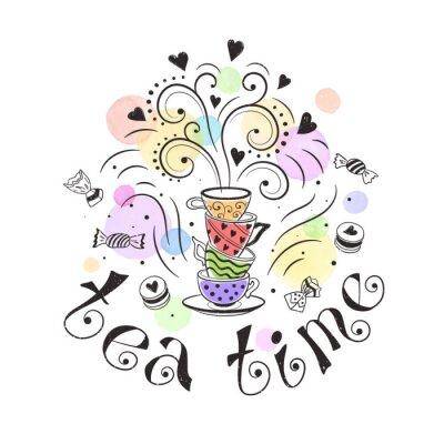 Plakát Tea time plakát koncept. Design čajový dýchánek kartu. Ručně kreslenou doodle ilustrace s teapots, poháry a sladkosti.