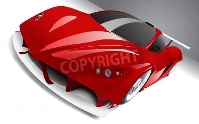 Plakát téměř závodní červené auto, vrstvené, plně upravitelné